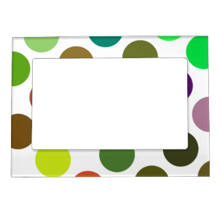 Large Green And Brown Dots Magnetic Picture Frame