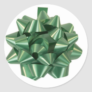 Large Green Christmas Present Bow ribbon Classic Round Sticker