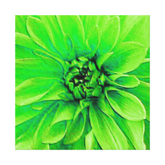 Large Green Dahlia Gallery Wrap Canvas