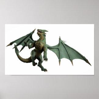Large Green Dragon - turning Poster