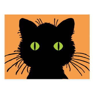 Large Green-Eyed Black Cat with Bulging Eyes Postcard