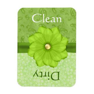 Large Green Floral Dishwasher Magnet