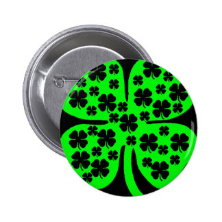 Large Green Four leaf clover black clovers Pinback Button