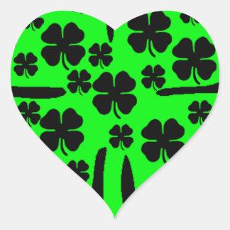 Large Green Four leaf clover black clovers Heart Sticker