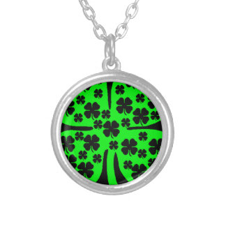 Large Green Four leaf clover black clovers Silver Plated Necklace