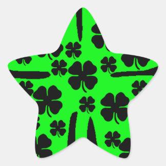 Large Green Four leaf clover black clovers Star Sticker