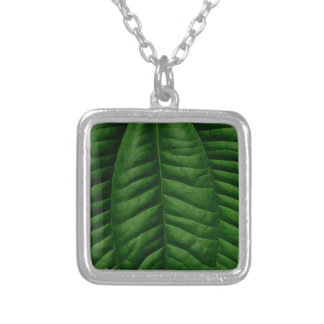 Large Green Leaf Silver Plated Necklace