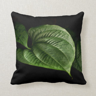 Large Green Leaf Throw Pillow