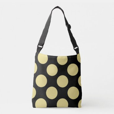 Beach Themed Large green polka dots design on black crossbody bag