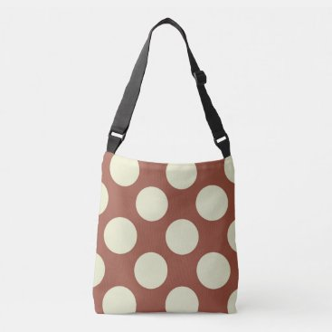 Beach Themed Large green polka dots design on brown crossbody bag