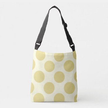Beach Themed Large green polka dots design on cream crossbody bag