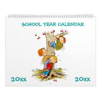 Large Green School Year Calendar For Kids