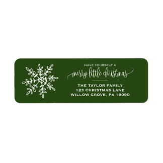 Large Green Snowflake Christmas Label