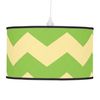Large Green & Tan Chevron Pattern Hanging Lamp