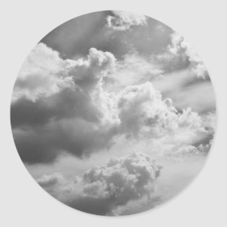 Large Grey Cloud Sky Classic Round Sticker