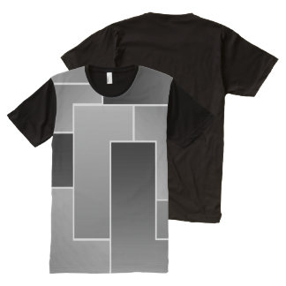 Large Grey Geometric Asymmetrical Rectangle Tile All-Over Print T-shirt