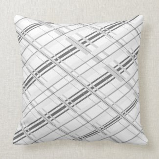 Large Grey Plaid Decorative pillow