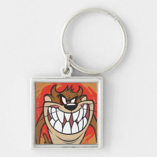 Large Grin TAZ™ Silver-Colored Square Keychain