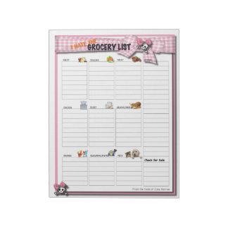 Large Grocery List - Pink Ribbon Skulls Notepad
