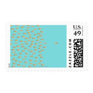 Large group of goldfish facing one lone goldfish stamp