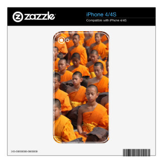 Large Group of Meditating Monks Decals For iPhone 4S
