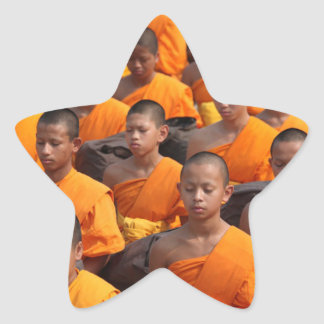 Large Group of Meditating Monks Star Sticker