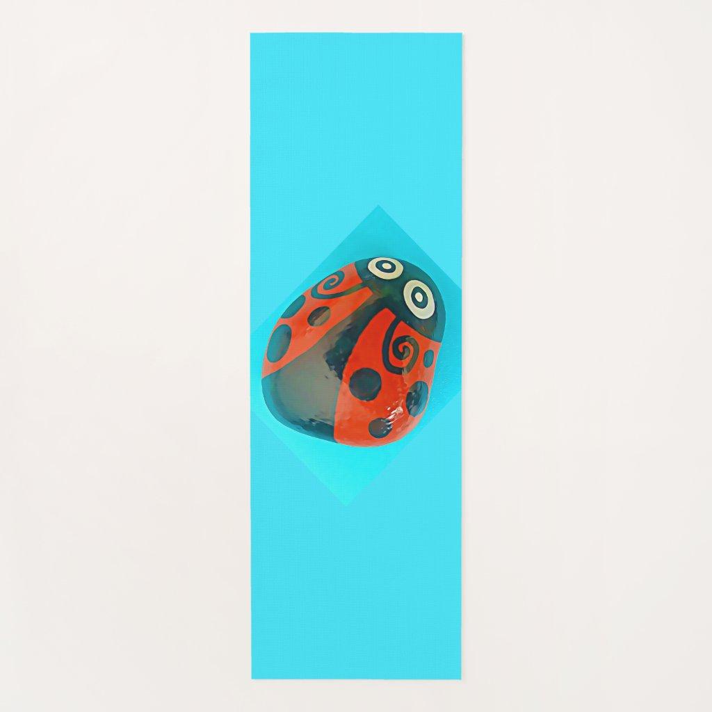 Large Hand-painted Ladybug, yoga mat, colorful Yoga Mat