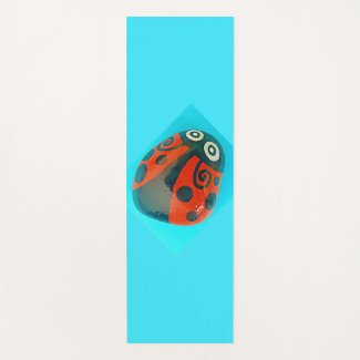 Large Hand-painted Ladybug, yoga mat, colorful Yoga Mat