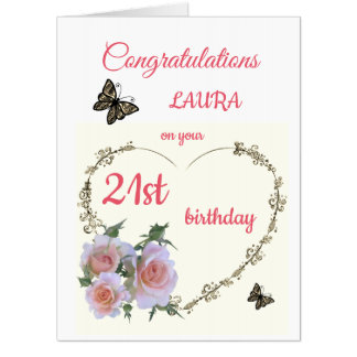 Large Happy 21st Birthday design greeting Card