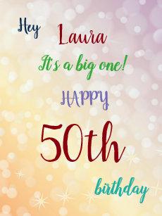 Large Happy 50th Birthday Design Greeting Card