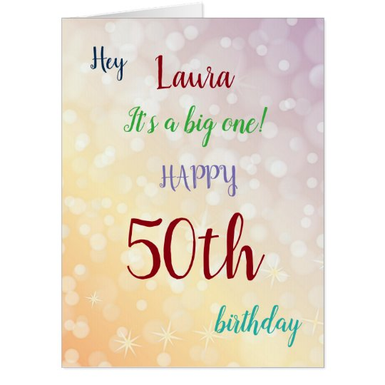 Large Happy 50th Birthday Design Greeting Card Zazzle