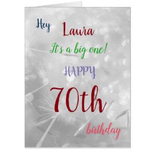 Large Happy 70th Birthday Design Greeting Card