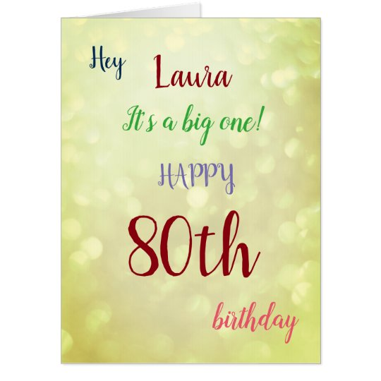 Large Happy 80th Birthday Design Greeting Card