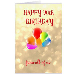 Large Happy 90th Birthday Design Card