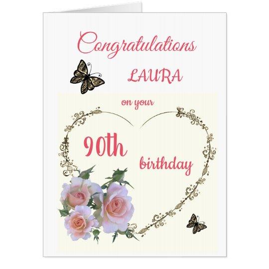 Large Happy 90th Birthday design greeting Card   Zazzle.com