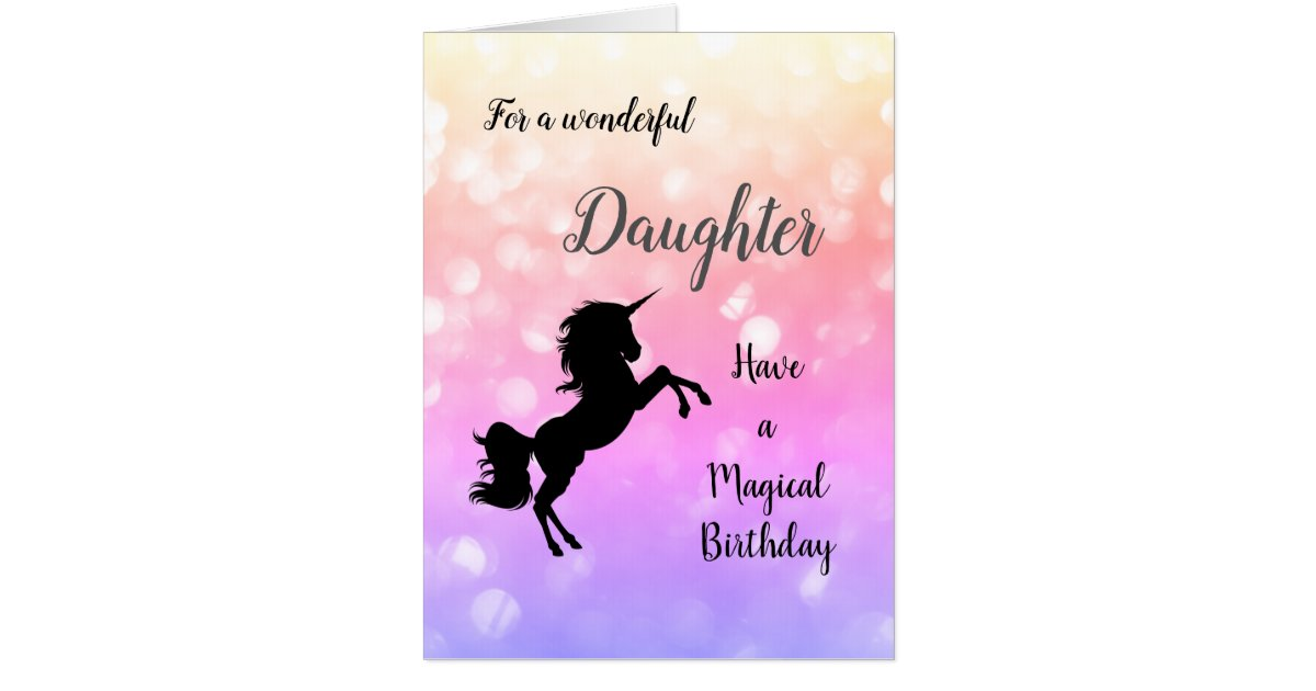 Large Happy Birthday Daughter Unicorn Card
