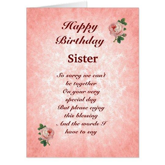 Large Happy Birthday Sister distance Card   Zazzle.com