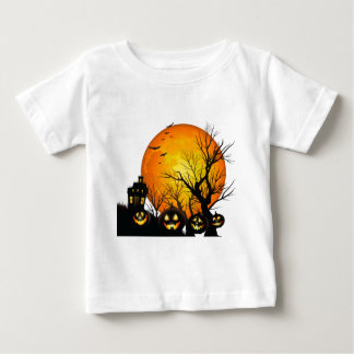 Large Haunted  House and Moon Baby T-Shirt