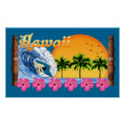 Large Hawaiian Surfing Poster