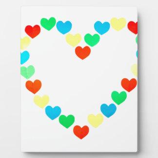Large heart shape  built of little colored hearts plaque
