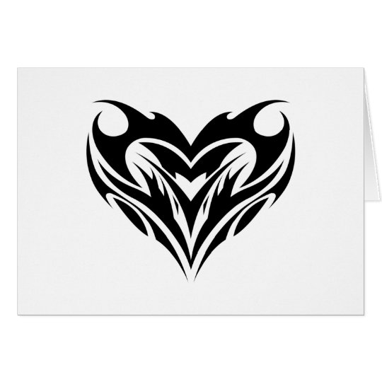 Large Heart Tribal Tattoo Design Card