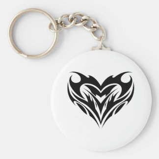 Large Heart Tribal Tattoo Design Keychain