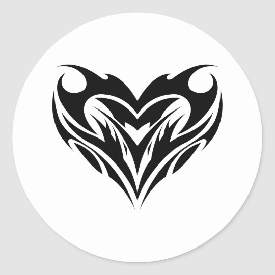 Large Heart Tribal Tattoo Design Sticker