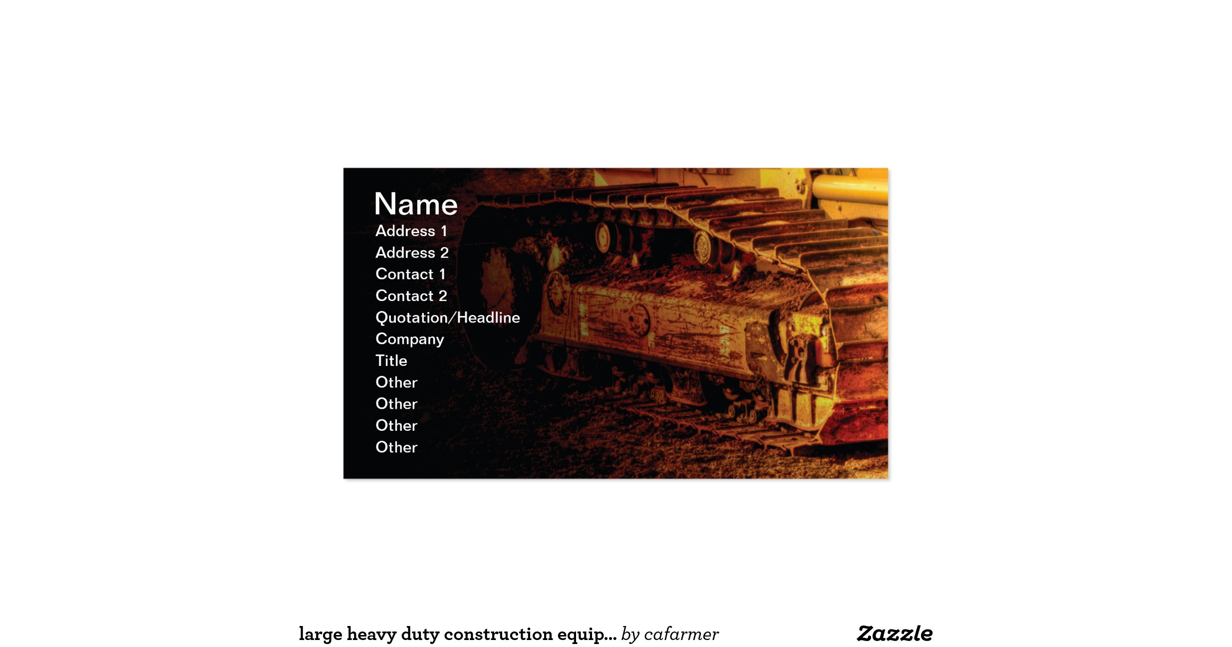 Large heavy duty construction equipment business card for Heavy equipment business cards