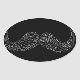 Large hipster mustache typographic French quotes Oval Sticker