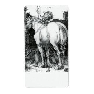 Large Horse, Engraving by Albrecht Durer Label