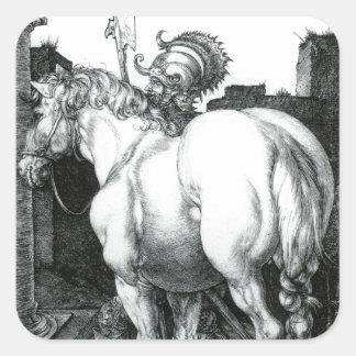 Large Horse, Engraving by Albrecht Durer Square Sticker