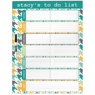 Large Houndstooth To Do List Dry Erase Board