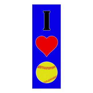 Large I Love Softball Custom Color Vertical Poster
