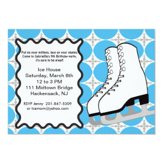 Large Ice-skates Birthday party Invitation